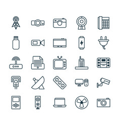 Icons set collection of charge surveillance vector