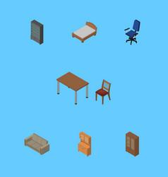 Isometric design set of bedstead office vector