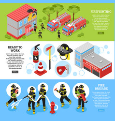 isometric firefighter banners vector image
