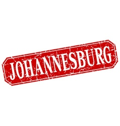 Johannesburg red square grunge retro style sign vector