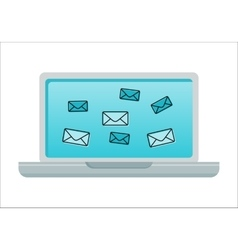 Laptop with email icons on screen vector