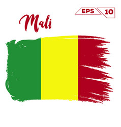 Mali flag brush strokes painted vector