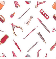 manicure equipment seamless pattern hand drawn vector image vector image