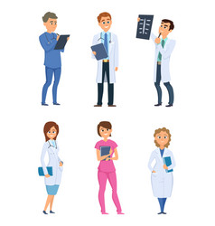 medic nurses and doctors healthcare characters in vector image vector image