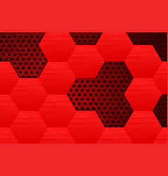 Metal dark background with red steel hexagons vector