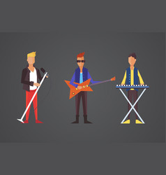 pop singer flat isolated rock vector image