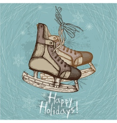 Retro ice skates vector image