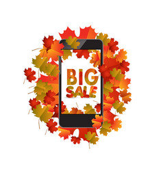 Sales smartphone with autumn leaves isolated on vector