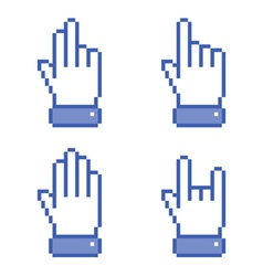 Set of blue Pixel Hand icons vector image vector image