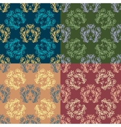 Set of Seamless with abstract colorful floral vector image vector image