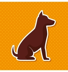 Silhouette dog sit yellow dot background vector