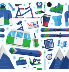 Ski Resort Seamless Pattern vector image vector image