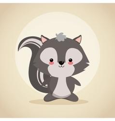 Skunk cartoon icon woodland animal vector