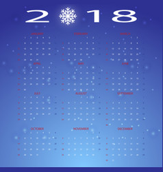 stylized snow winter 2018 calendar vector image