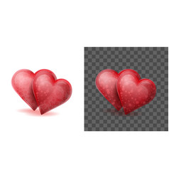 two red crystal hearts joined or linked together vector image vector image