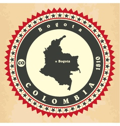 Vintage label-sticker cards of Colombia vector image vector image