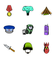 War icons set cartoon style vector