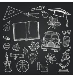 School set of education elements on chalkboard vector image