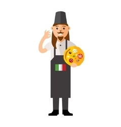 Cook pizza Flat style colorful Cartoon vector image