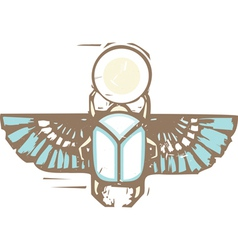 Egyptian distressed winged scarab vector