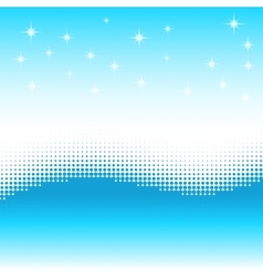 Wave background with halftone effect stars snow vector