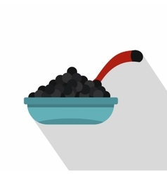 Bowl of caviar with spoon icon flat style vector