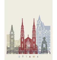 Ottawa skyline poster vector image