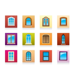 Plastic aluminum and wooden windows vector image