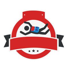 circular emblem with ribbon and skydiver vector image