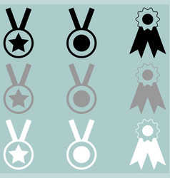 Three awards white grey black icon vector
