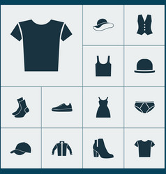 Clothes icons set collection of panama singlet vector