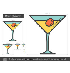 Martini glass line icon vector
