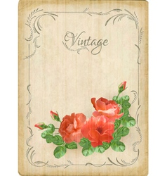 Vintage retro flowers roses postcard border frame vector