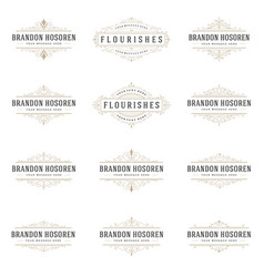 Retro vintage insignias or logotypes set vector