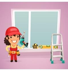 Female worker is installing the window vector