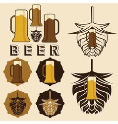 Set of beer labels with mugs and hops vector
