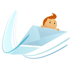 Cartoon flying envelop with character vector