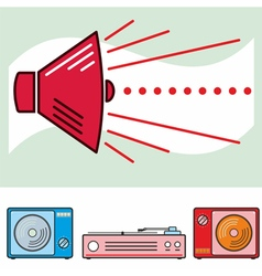 Retro sound banner colour vector
