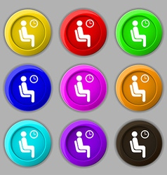 Waiting icon sign symbol on nine round colourful vector