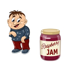 Fat boy and the jam jar vector