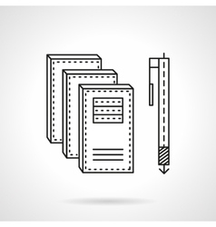 Notebooks and pen flat line icon vector