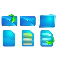 Blue paper and envelope icons vector