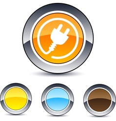 Power plug round button vector