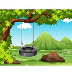 Scene with swing on the tree vector image