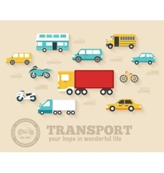 Flat cars concept set icon backgrounds vector