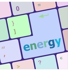 Energy button on computer pc keyboard key vector