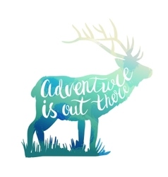 Deer silhouette with hand-drawn lettering vector