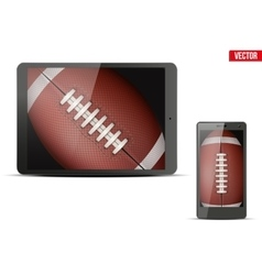 American football ball on gadgets vector