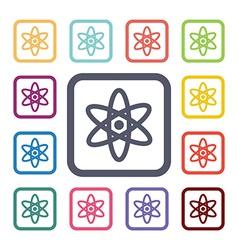 Atom flat icons set vector
