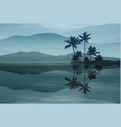 background with sea and palm trees at night vector image vector image